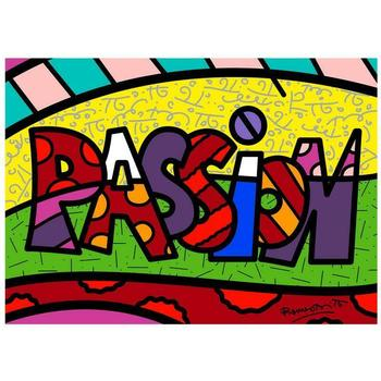 "Romero Britto ""Passion Mini Word"" Hand Signed Giclee on Canvas; Authenticated"
