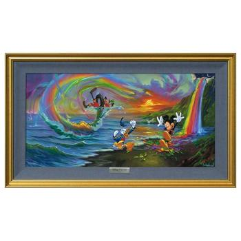 """""""Mickey and the Boys at Rainbow Falls"""" Framed Limited Edition Canvas by Jim Warren from the Disney Fine Art Silver Series"""