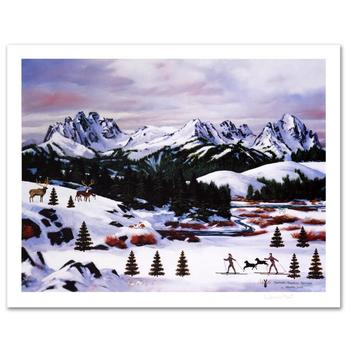 """Jane Wooster Scott, """"Sawtooth Mountain Splendor"""" Hand Signed Limited Edition Lithograph with Letter of Authenticity."""