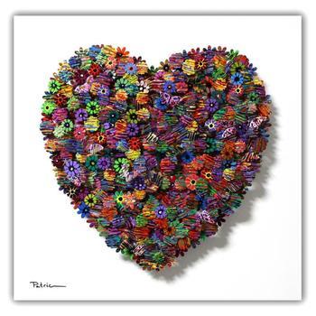 "Patricia Govezensky, ""Heart"" Original 3D Metal Art on Wood with COA."