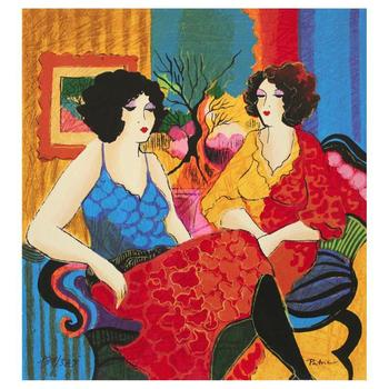 """Patricia Govezensky, """"Models Talking"""" Hand Signed Limited Edition Serigraph with Letter of Authenticity."""