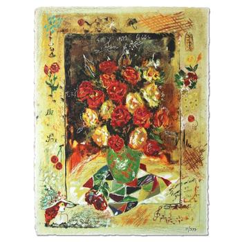 """Sergey Kovrigo, """"Red Bouquet"""" Hand Signed Limited Edition Serigraph with Letter of Authenticity."""