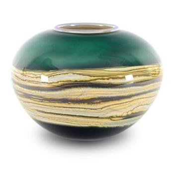 """""""Small Sage Sphere"""" Hand Blown Glass Vase Sculpture, Hand Signed by GartnerBlade Glass."""