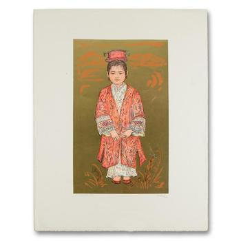 "Edna Hibel (1917-2014), ""Sun Ming Tsai of Beijing"" Limited Edition Lithograph, Numbered and Hand Signed with LOA (Disclaimer)"