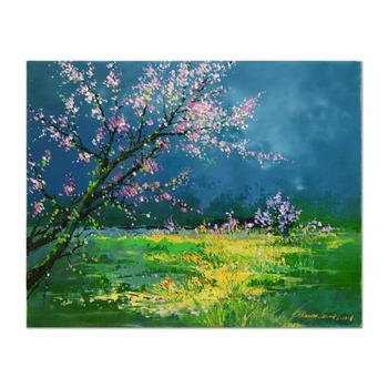 "Thomas Leung, ""Spring Field"" Original Oil Painting on Canvas Board, Hand Signed with Certificate of Authenticity."