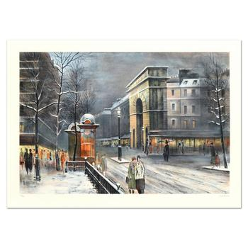 """Antonio Rivera, """"La Porte St Denis"""" Limited Edition Lithograph, Numbered and Hand Signed."""