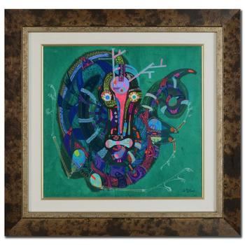 """Lu Hong, """"Wood Dragon"""" Framed Original Mixed Media Painting, Hand Signed by the Artist with Certificate."""