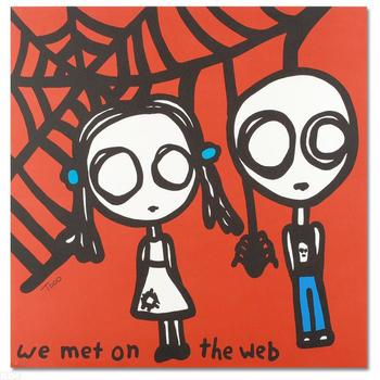 """Todd Goldman, """"We Met on the Web"""" Ltd Ed Lithograph, Numbered and Hand Signed with Certificate of Authenticity."""