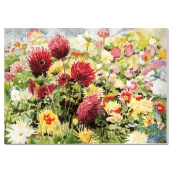 """Perla Fox, """"Dahlias"""" Hand Signed Limited Edition Serigraph with Letter of Authenticity."""
