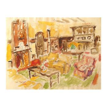 "Wayne Ensrud ""The Library of Chateau Bouscaut"" Watercolor Original Artwork; Hand Signed; COA"