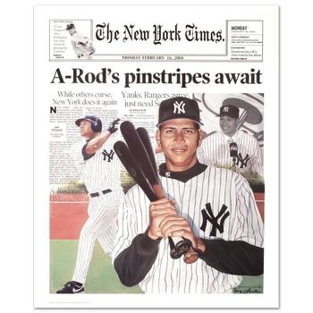"""Doug London, """"A-Rod New York Times"""" Poster (2004), Hand Signed by London."""