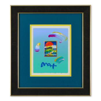 """Peter Max, """"Without Borders"""" Framed One-Of-A-Kind Acrylic Mixed Media, Hand Signed with COA from Peter Max Studios"""