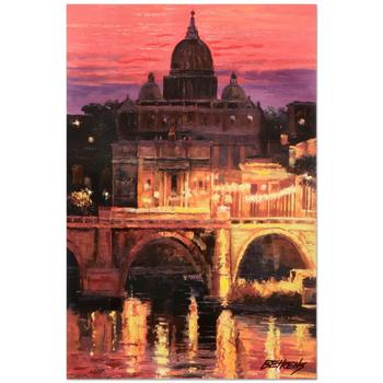 """Howard Behrens (d.2014), """"Sunset Over St. Peter's"""" Ltd Ed Embellished Giclee on Canvas No. and Signed w/Cert."""
