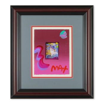 """Peter Max, """"Blushing Beauty"""" Framed One-Of-A-Kind Acrylic Mixed Media, Hand Signed with COA from Peter Max Studios"""