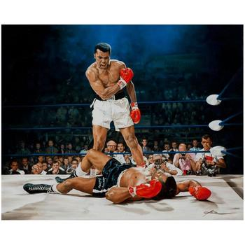 """Yevgeniy Korol, """"Ali Vs. Liston"""" Hand Signed Mixed Media on Canvas with Letter of Authenticity."""