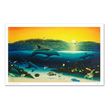 """Wyland, """"Warm Tropical Waters"""" Ltd Ed Giclee on Canvas (43"""" x 26""""), Numbered and Hand Signed with Certificate."""
