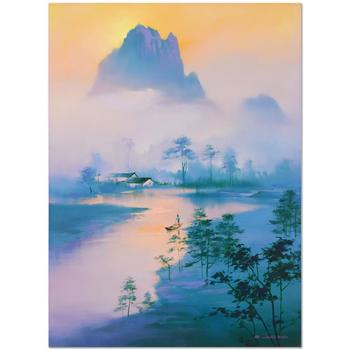 """H. Leung, """"Li River Morning"""" Hand Embellished Limited Edition, Numbered and Hand Signed with Letter of Authenticity."""