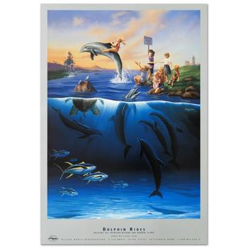 """Wyland, """"Dolphin Rides"""" Poster."""