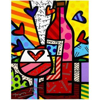 "Romero Britto ""Food & Wine"" Hand Signed Limited Edition Giclee on Canvas; COA"