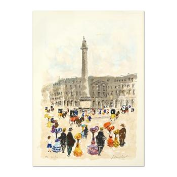"Urbain Huchet, ""Place Vendome"" Limited Edition Lithograph, Numbered and Hand Signed."