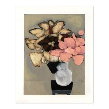 """Brenda Barnum, """"Tulip & Pink Flower"""" Ltd Ed Serigraph, Numbered and Hand Signed with Certificate of Authenticity."""