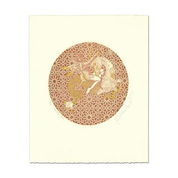 """Guillaume Azoulay, """"Capricorn"""" Limited Edition Etching with Gold Leafing, Hand Signed and numbered 30/30 with LOA"""