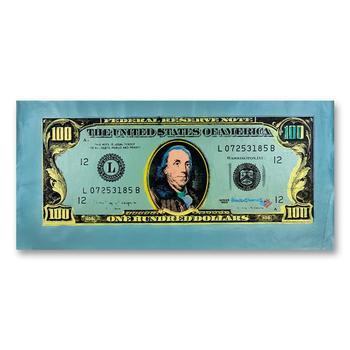"Steve Kaufman (1960-2010), ""One Hundred Dollar Old Ben Bill"" Hand Signed HC Edition Silkscreen on Canvas."