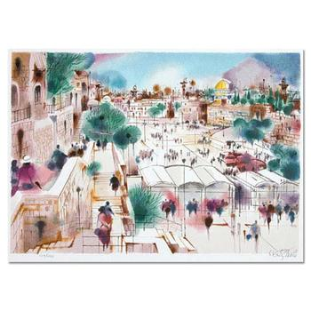 """Shmuel Katz, """"Wailing Wall Plaza"""" Hand Signed Limited Edition Serigraph with Letter of Authenticity."""