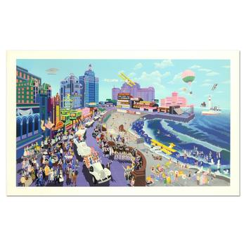 """Melanie Taylor Kent, """"Boardwalk of Atlantic City"""" Limited Edition Serigraph (44"""" x 26""""), Numbered and Hand Signed with LOA."""