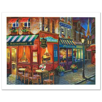 """Anatoly Metlan, """"Saint Denis La Nuit"""" Limited Edition Lithograph, Numbered and Hand Signed with Certificate."""
