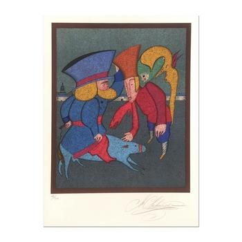 """Mihail Chemiakin - Carnival Series: """"Untitled 3"""" Ltd Ed Lithograph, Numbered 49/300 Hand Signed with Certificate."""