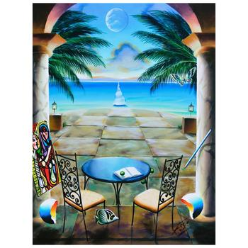 """Ferjo, """"Caribbean Paradise"""" Original Painting on Canvas, Hand Signed with Letter of Authenticity."""