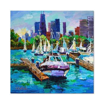"Yana Rafael ""City Boat Slip"" Hand Signed Original Painting on Canvas with COA"