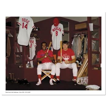 """""""Pete Rose & Morgan in Clubhouse"""" Archival Photograph Autographed by Pete Rose and Joe Morgan."""