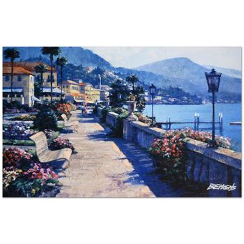 """Howard Behrens (d.2014), """"Bellagio Promenade"""" Ltd Ed Embellished Giclee on Canvas No. and Hand Signed w/Cert."""