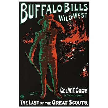 """RE Society, """"Buffalo Bills Wild West"""" Hand Pulled Lithograph, Image Originally by Alick Penrose Ritchie."""