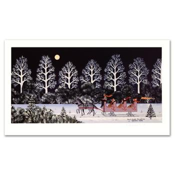 """Jane Wooster Scott, """"Trail Creek Sleigh Ride"""" Hand Signed Limited Edition Lithograph with Letter of Authenticity."""