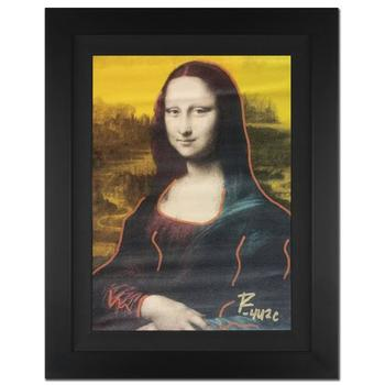 """Ringo, """"Mona Lisa"""" Framed One-of-a-Kind Mixed Media Painting on Canvas, Hand Signed with COA."""