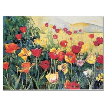 "Perla Fox, ""Tulips"" Hand Signed Limited Edition Serigraph with Letter of Authenticity."