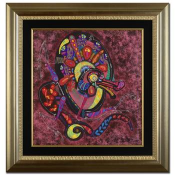 "Lu Hong, ""Fire Dragon"" Framed Original Mixed Media Painting, Hand Signed by the Artist with Certificate."