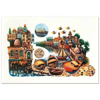 """Amram Ebgi, """"City of Jaffa"""" Limited Edition Lithograph, Numbered and Hand Signed with Letter of Authenticity."""