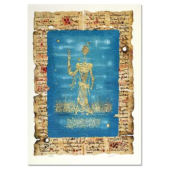 """Moshe Castel, """"Moses""""Hand Signed LimitedEdition Gold Embossed Serigraph with Letter of Authenticity."""