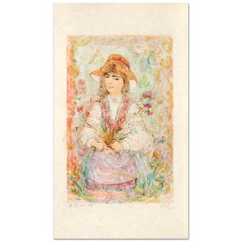 "Edna Hibel (1917-2014), ""Heidi"" Limited Edition Lithograph, Numbered and Hand Signed with Certificate of Authenticity."