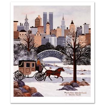 """Jane Wooster Scott, """"Manhattan Wonderland"""" Hand Signed Limited Edition Lithograph with Letter of Authenticity."""