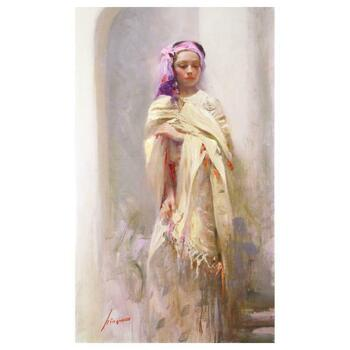 """Pino (1939-2010) """"Silk Shawl"""" Limited Edition Artist-Embellished Canvas, Hand Signed."""
