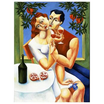 """Yuroz, """"Toast To Love"""" Hand Signed Limited Edition Serigraph on Canvas with Certificate of Authenticity."""