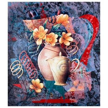 """Yankel Ginzburg, """"Tea In The Afternoon"""" Hand Signed Limited Edition Serigraph with Letter of Authenticity."""