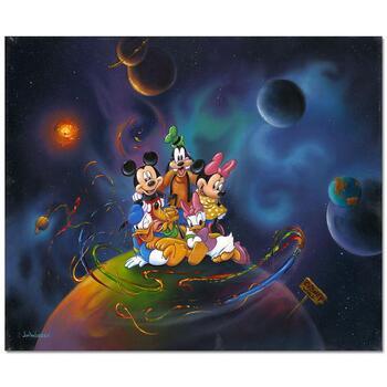 "Jim Warren ""Disney World"" Disney Premier Limited Edition Hand Embellished Giclee on Canvas; Hand Signed; COA"