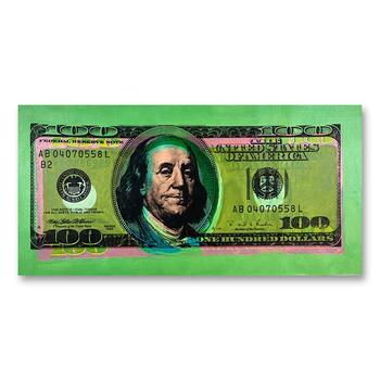 """Steve Kaufman (1960-2010), """"One Hundred Dollar New Ben Bill"""" Hand Signed HC Edition Silkscreen on Canvas."""