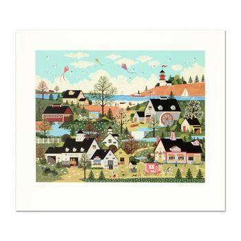 """Jane Wooster Scott, """"Sunday in New England"""" Hand Signed Limited Edition Serigraph with Letter of Authenticity."""